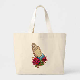 002a0279e94c Praying Hands Roses Design Large Tote Bag