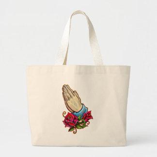 Praying Hands Roses Design Large Tote Bag