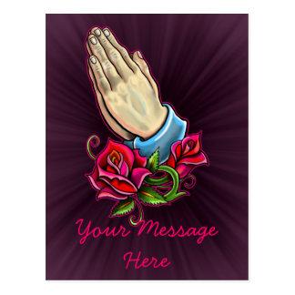 Praying Hands Roses Design Postcard