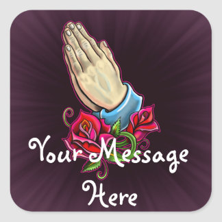 Praying Hands Roses Design Square Sticker