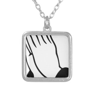 Praying Hands Silver Plated Necklace