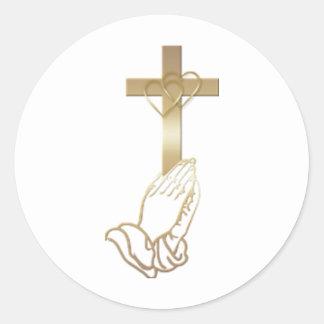 Praying Hands Round Stickers