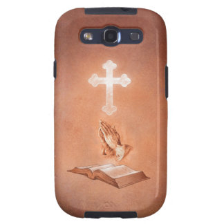 Praying Hands with Cross and Bible Galaxy SIII Cover