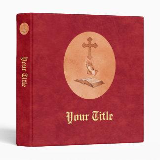 Praying Hands with Cross and Bible Vinyl Binder