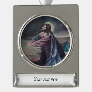 Praying in Gethsemane Silver Plated Banner Ornament
