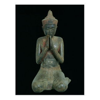 Praying kneeling figure postcard