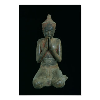 Praying kneeling figure poster