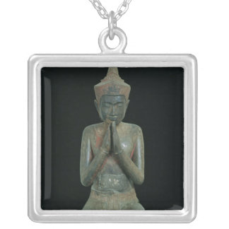 Praying kneeling figure silver plated necklace