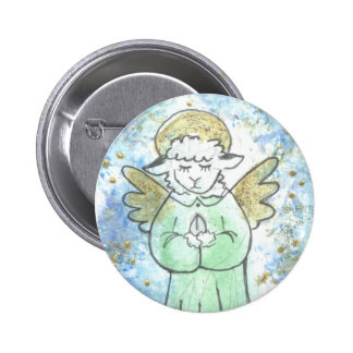 Praying Lamb Angel 2 Inch Round Button