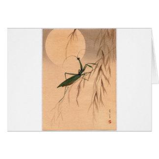 Praying Mantis and the Moon Japanese Art c. 1800s Card