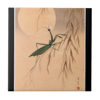Praying Mantis and the Moon Japanese Art c. 1800s Tile