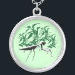 """Praying Mantis Bamboo Jungle Necklace<br><div class=""""desc"""">He sees you</div>"""