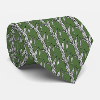 Praying Mantis On Leaves, On Green Background Tie