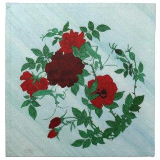 Praying Mantis & Red Roses Napkins