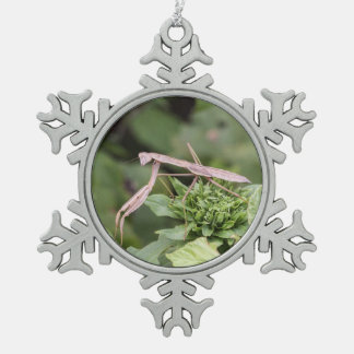 Praying Mantis Snowflake Pewter Christmas Ornament