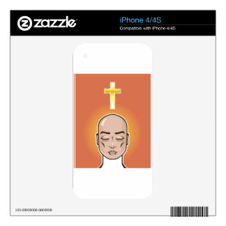 Praying person Gold cross Meditation Decal For iPhone 4