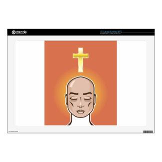Praying person Gold cross Meditation Laptop Decals