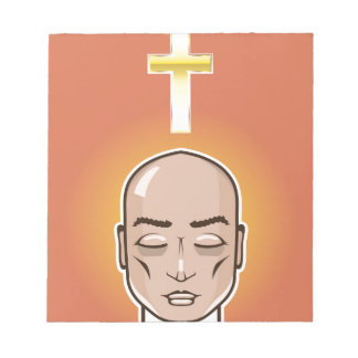 Praying person Gold cross Meditation Notepad