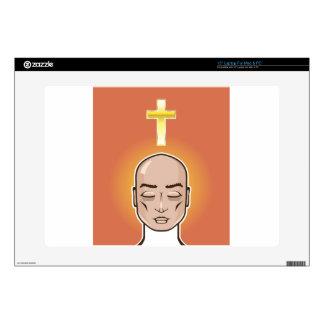 Praying person Gold cross Meditation Skin For Laptop