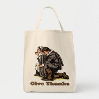 Praying Pilgrims Grocery Tote Bag