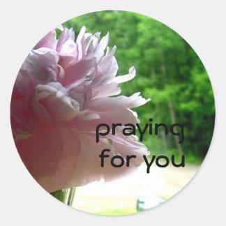 Praying Pink Peony Classic Round Sticker