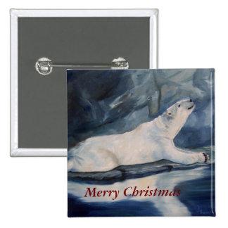 Praying Polar Bear Christmas Button