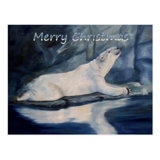 Praying Polar Bear Christmas in silver Postcard