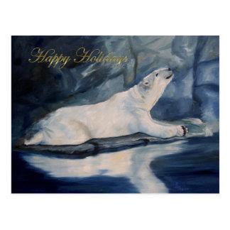 Praying Polar Bear Happy Holidays Postcard