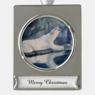 Praying Polar Bear Silver Plated Banner Ornament