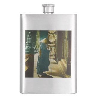 Praying Priest in Old Japan Vintage Magic Lantern Flask