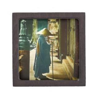 Praying Priest in Old Japan Vintage Magic Lantern Gift Box