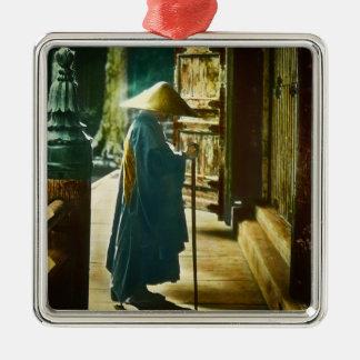 Praying Priest in Old Japan Vintage Magic Lantern Metal Ornament
