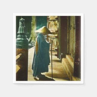 Praying Priest in Old Japan Vintage Magic Lantern Napkin