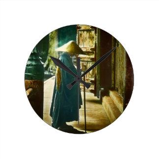 Praying Priest in Old Japan Vintage Magic Lantern Round Clock