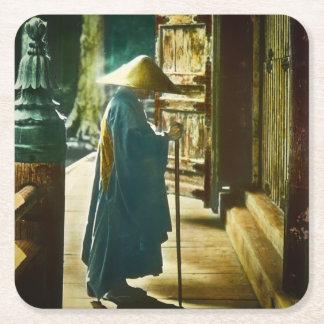 Praying Priest in Old Japan Vintage Magic Lantern Square Paper Coaster