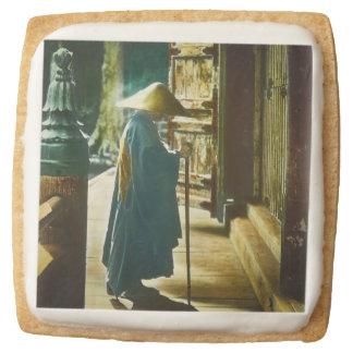 Praying Priest in Old Japan Vintage Magic Lantern Square Shortbread Cookie