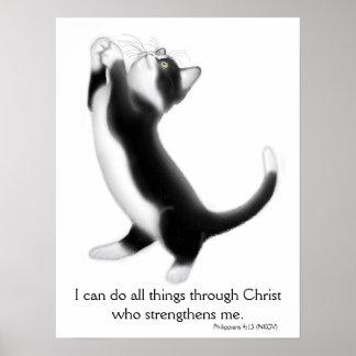 Praying Tuxedo Kitten Philippians 4:13 Poster