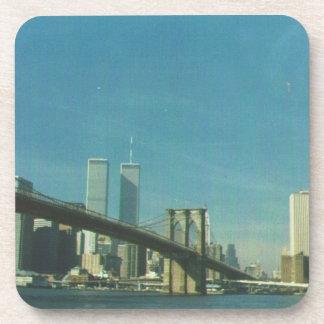 Pre 9/11/01 lower New York skyline Beverage Coaster