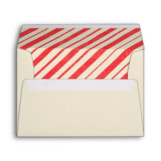 Pre-addressed Christmas Candy Cane Stripe Lined Envelope