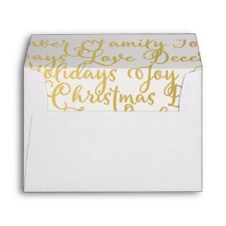 Pre-addressed Christmas Gold Calligraphy Lined Envelope