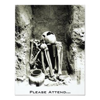 Pre-Columbian Gravesite Skeleton - Halloween Party Card