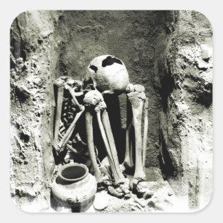 Pre-Columbian Gravesite Skeleton Square Sticker