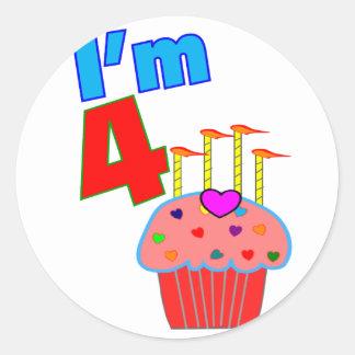 """Pre cumpleaños de la escuela """"soy 4"""" magdalena pegatina redonda"""