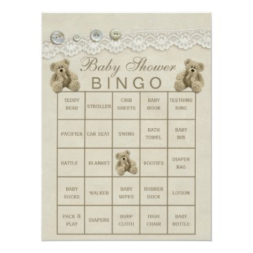 Toddler & Baby themed Pre Filled Customizable Teddy Baby Shower Bingo Card