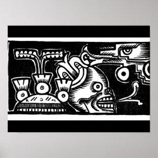 Pre-Hispanic Aztec Style Painting c. 1925 Poster