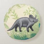 Pre-Historic Triceratops Dinosaur Pillow Round Pillow