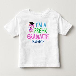 Pre-K Graduate Cute Pink Owl Custom Toddler T-shirt