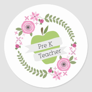 Pre K Teacher Floral Wreath Green Apple Classic Round Sticker