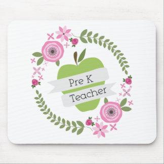 Pre K Teacher Floral Wreath Green Apple Mousepads