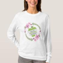 Pre K Teacher Floral Wreath Green Apple T-Shirt